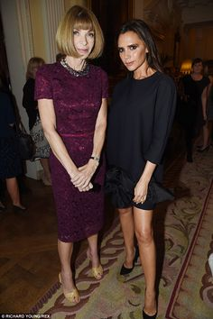 Anna Wintour and Victoria Beckham - At the Vogue and J Crew London Fashion Week party in London. (September 2014)