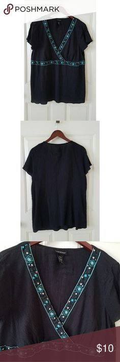 Black V Neck Cotton Top Lane Bryant 14/16 Very pretty V Neck Top embellished with embroidery and sequins. Great for summer.   Measurements with garment laying flat: Chest 21 inches  Length 27.5 inches   100% cotton  Handwash cold inside out. Lane Bryant Tops Blouses