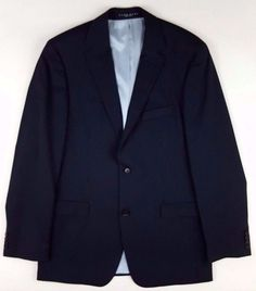 344ff9fba Details about HUGO Boss BLACK Blazer PINSTRIPE Size 42L Mens TWO Button  LINED Super 120S Wool