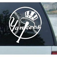 NEW YORK YANKEES LOGO MLB WHITE DECAL VINYL STICKER --- http://www.amazon.com/YANKEES-WHITE-DECAL-VINYL-STICKER/dp/B003BML1HU/?tag=pinjcrossleybaseball-20