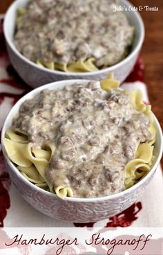 Hamburger Stroganoff ~ An easy weeknight supper that will impress the whole family and have Mom smiling! via www.julieseatsandtreats.com