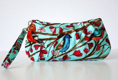 Blue Bird Wristlet  by SweetPeaTotes on Etsy