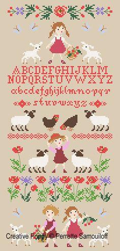 <b>Lamb in Poppy Field</b><br>cross stitch pattern<br>by <b>Perrette Samouiloff</b>