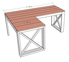L Shaped Double X Desk – HandmadeHaven