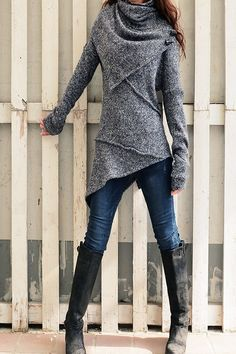 Knitting Patterns Sweaters Women& Deconstructed Asymmetrical Knit Sweater Heather Gray (M (US Fall Outfits, Casual Outfits, Cute Outfits, Plus Size Kleidung, Asymmetrical Sweater, Mode Inspiration, Winter Fashion, Fashion Dresses, Couture