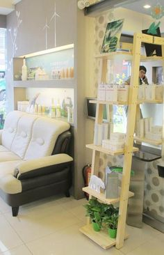 Green salon with O'right products! Singapore Malaysia, Ladder Bookcase, Bunk Beds, Salons, Shelves, Spaces, Green, Furniture, Products