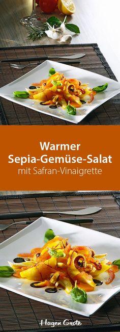 Warmer Sepia-Gemüse-Salat mit Safran-Vinaigrette