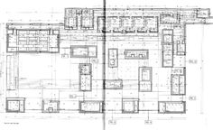 P. Zumthor, Main floor plan at the baths level, execution project, Therme Vals