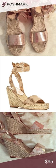 "Loeffler Randall Harper Wrap Espadrilles Wedges Beautiful wedge sandals! The Loeffler Randall ""Harper Wrap Espadrilles Wedge"" in gold. Warm toned gold that looks almost copper or rose gold tone. In EUC, only signs of wear are light wear on bottom of shoes. Loeffler Randall suede espadrille sandal. 4"" braided jute wedge heel; platform lowers pitch. Open toe. Self-tie ankle wrap. Leather outsole. ""Harper"" is made in Brazil. Loeffler Randall Shoes Wedges"