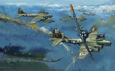 Fw-190 atacando una formación de B-17