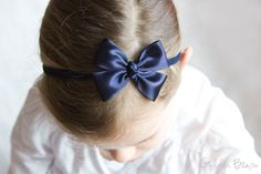 Baby Bows - Navy Like a Butterfly Satin Bow Baby Handmade Headband