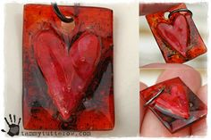 Red Heart Faux Fused Glass Shrink Art Pendant by tammytutterow, $25.00