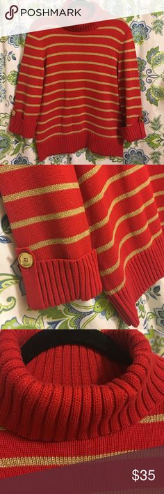 JONES NEW YORK Size L NWOT, Awesome sweater NWOT,Machine Wash ,Red and golden Jones New York Sweaters Cowl & Turtlenecks