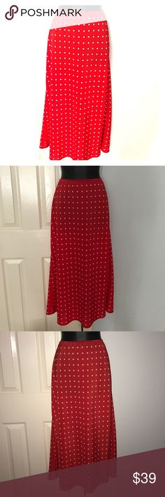 "Red polka dot maxi EYE CANDY skirt plus size XL Gorgeous red Polka dot skirt. Size x-large. Elastic waist band as pictured. Measures approximately 33.5"" in length and almost 30"" waist without stretching the elastic. Elastic can stretch to around 40."" Smoke free home. Bundle with other items in my closet to save even more. Eye Candy Skirts Maxi"