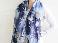Blue sea beach coconut tree scarf large size by blackbeanblackbean, $9.99