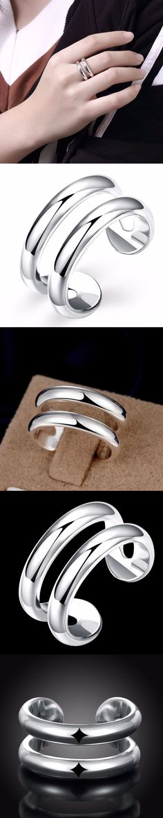 Silver Jewelry High Quality Silver  Geometric Rings Women Rings Jewelry Accessories Ring Jewelry