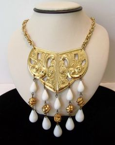 Kenneth J Lane KJL Etruscan Necklace Gold Plate White Lucite Drops Vintage 1970s