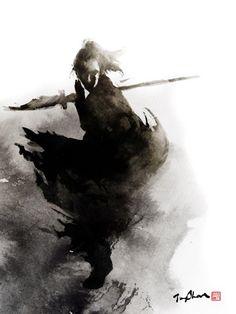 beautiful samurai illustration