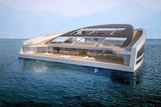 (Photo: WHY)  With more than 3,000 square feet of living surface and three levels of decking, the WHY concept yacht is designed for living — and entertaining. In part, what distinguishes the design is its emphasis on sustainability (relative to other yachts.) The vessel relies on thermal energy and recycled organic and inorganic waste, ideally resulting in a low impact on the sea.