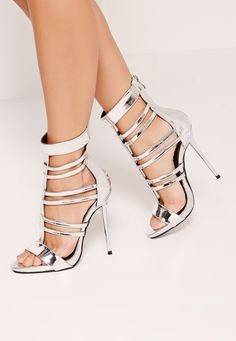 Missguided - T Bar Strappy Gladiator Heels Silver