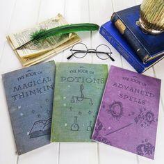 Magic Notebooks Set of Three Spells Potions by LiteraryEmporium