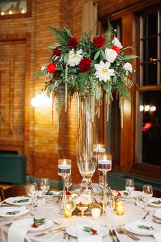 tall holiday centerpiece - photo by Geneoh Photography http://ruffledblog.com/whimsical-forest-inspired-wedding-in-chicago