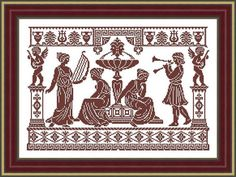 Greek musical life scene - Cross stitch pattern PDF file - Antique style pattern from old magazine Stitched area: 225w X 153h Stitches Design Size: 14 Count, 40.82w X 27.76h cm Stitches used: X-stitch Number of colors: 1 ONLY PATTERN. This PDF-file pattern Includes: - Black and
