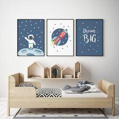 3 Space Rocket Prints, Mond Illustration, Kinderzimmer Wandkunst, Kinderzimmer Space Decor, S . Space Themed Nursery, Nursery Room, Nursery Wall Art, Kids Bedroom, Nursery Prints, Bedroom Themes, Nursery Themes, Bedrooms, Planet Decor