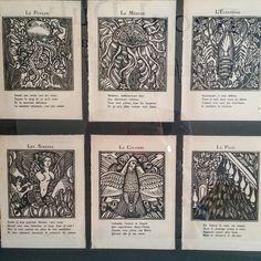 """Guillaume #Apollinaire / Raoul Dufy """"Le #Bestiaire ou Cortège d'#Orphée"""" Paris Éditions de la Sirène 1929 collection particulière.  #Expo """"#Dufy #tissus & créations"""" (3/10) #musée des #beauxarts de #Carcassonne  #aude #audetourisme #jaimelaude #LanguedocRoussillon #sud #suddefrance #southfrance #igersfrance #ig_france #exhibition #museum #exposition #tissu #RaoulDufy #GuillaumeApollinaire"""