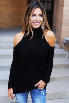 Black Cold Shoulder Mock Neck Sweater - Dottie Couture Boutique