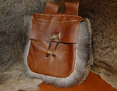 Viking bag pouch leather handmade with fur edge