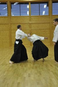 Aikidotraining in Wels: Budokan Wels. Sommertraining August 2014 ohne Tatami. Tantodori