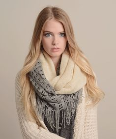 Look what I found on #zulily! Ivory & Gray Tassel Infinity Scarf by Leto Collection #zulilyfinds