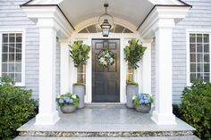 Six Tips For Creating A Dramatic Front Door Container Garden - Pottery Barn Front Door Planters, Front Door Porch, Front Porch Design, Front Door Entrance, Front Entrances, Front Door Decor, Front Doors, Large Planters, Porch Designs