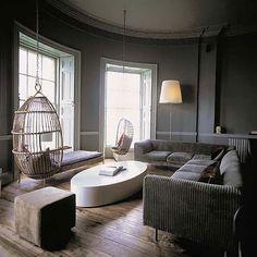 grey walls & wooden floor
