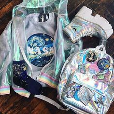 Holographic fashion - Toms Shoes Black jordan shoes flights Toms Shoes Winter oxford shoes for men Cas – Holographic fashion Kawaii Clothes, Kawaii Fashion, Cute Fashion, Trendy Fashion, Teen Fashion Outfits, Cool Outfits, Holographic Fashion, Jugend Mode Outfits, Space Grunge