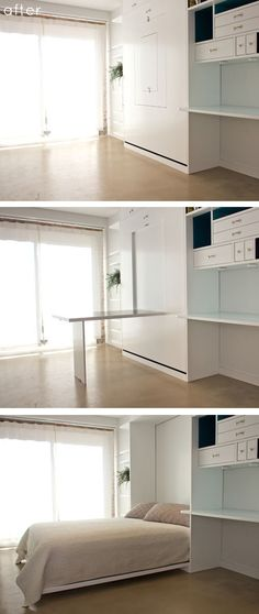 Fold down table and fold down bed in one unit. designsponge-custom cabinet