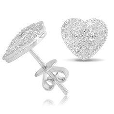 $22.99 - 1/10 Carat Diamond and Sterling Silver Heart Stud Earrings