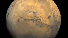 Valles Marineris, Giant Canyon on Mars - Valles Marineris, the grand valley of Mars, extends over 1,800 miles (3,000 kilometers) long, spans as much as 370 miles (600 kilometers) across, and plunges as much as 5 miles (8 kilometers) deep.