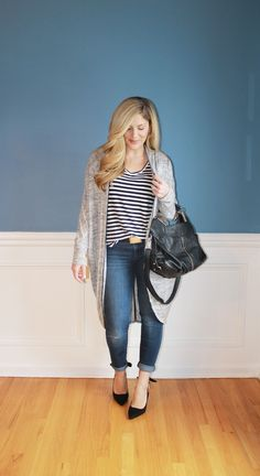 Outfitted411: Sling Back...striped tee, long cardigan sweater, skinny jeans, black sling back heels, winter fashion