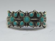 Very Vintage Native American Sterling Silver Turquoise Ring Size 5 by HipTrends2015 on Etsy