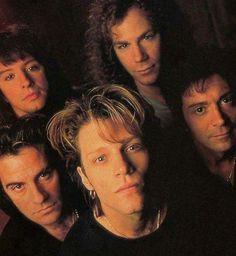 Jon Bon Jovi, Richie Sambora, David Bryan, Alec Jon Such, and Tico Torres circa 1992 #bonjovi