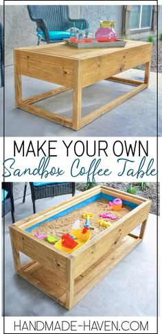 Check out the How-To for this outdoor coffee table that doubles as a sandbox Diy Furniture On A Budget, Diy Furniture Projects, Diy Home Decor Projects, Diy Wood Projects, Furniture Making, Wood Crafts, Coffee Table Plans, Cool Coffee Tables, Decorating Coffee Tables