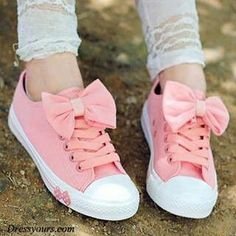 Cute pink canvass shoes with bow