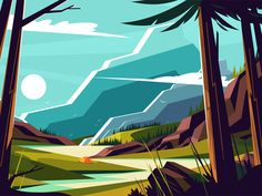 Buy Vacation in Mountains by on GraphicRiver. Vacation in mountains vector illustration. Picturesque landscape with nice hills beautiful river and trees flat style. Landscape Illustration, Graphic Design Illustration, Graphic Illustrations, Free Vector Images, Vector Free, Mountain Drawing, Mountain Designs, Scenery, Design Inspiration