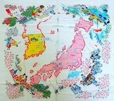 Vintage Scarf Map Japan Korea 38th by QueeniesCollectibles on Etsy, $19.99