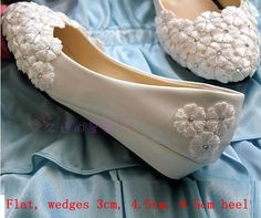 ==> [Free Shipping] Buy Best Woman wedding shoes with lace flower ornament silver stone decoration wedges small heel/MIDDLE/HIGH heels bridal pumps Online with LOWEST Price | 32604977562
