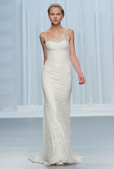 Brides.com: . Illusion one-shoulder sheath with floral lace embellishments, Rosa Clará