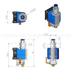 [3D CAM] All Metal Hot End V6 for RepRap 3D Printer Bowden Extruder 3.0mm Filament 0.5mm Nozzle 2V 40W Heater | 3D PRINTER CHAT