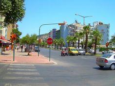Alanya pálmafával szegélyezett utcái